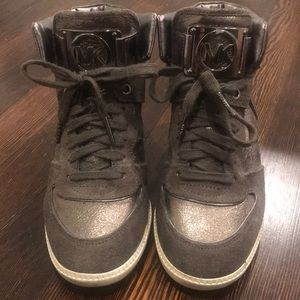 Michael Kors Grey Suede & Metallic Sneakers 7 1/2M